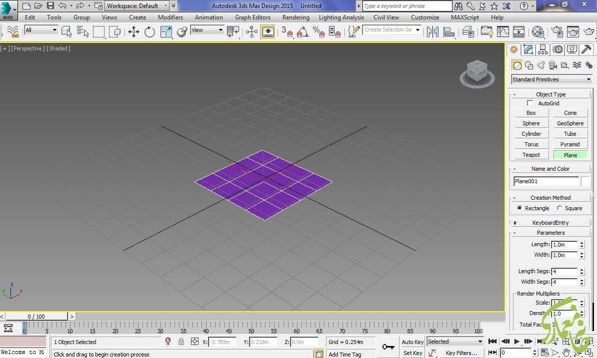 ساخت Plane در نرم افزار 3dmax
