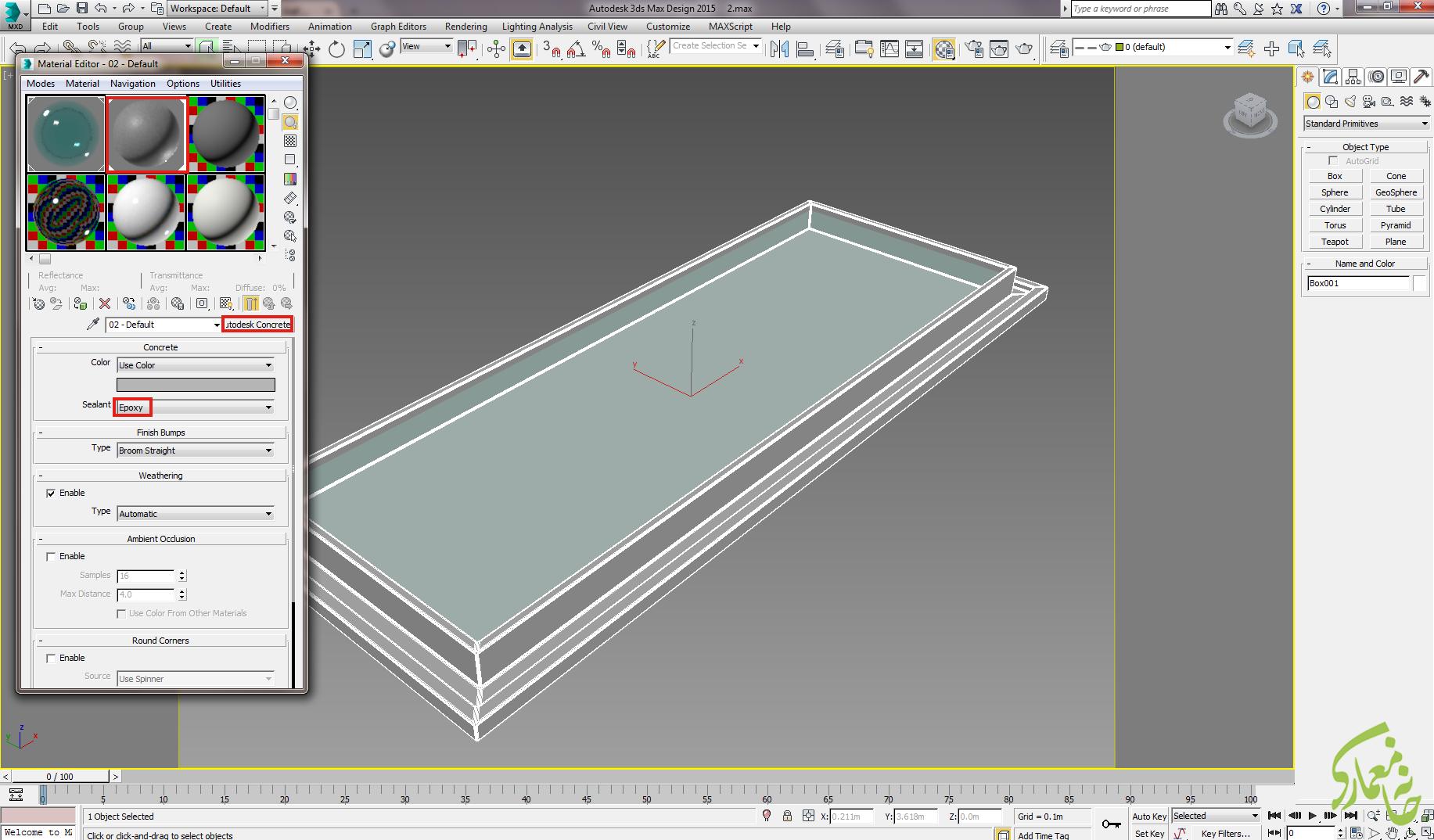 ساخت متریال آب با Autodesk water در 3dmax