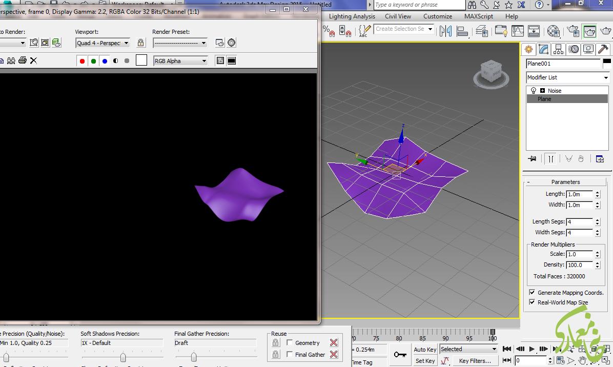 تغییر density در Plane نرم افزار 3dmax