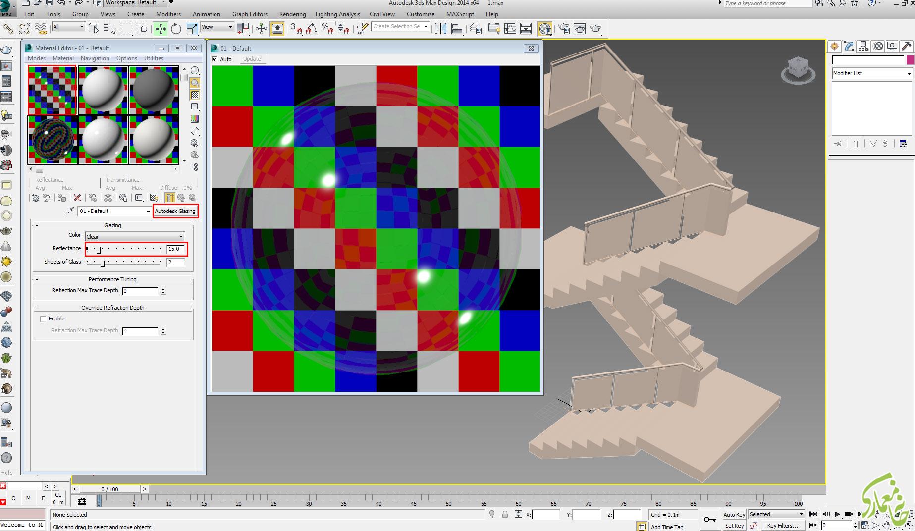 متریال نرده با Autodesk Glazing