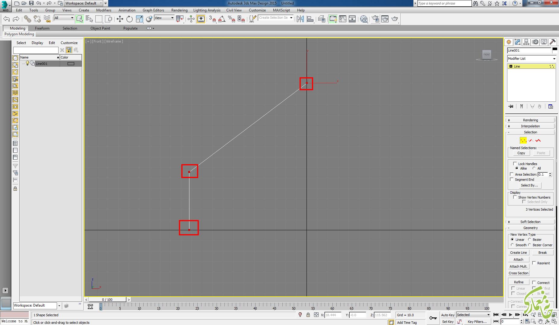 انتخاب Vertex در 3Dmax