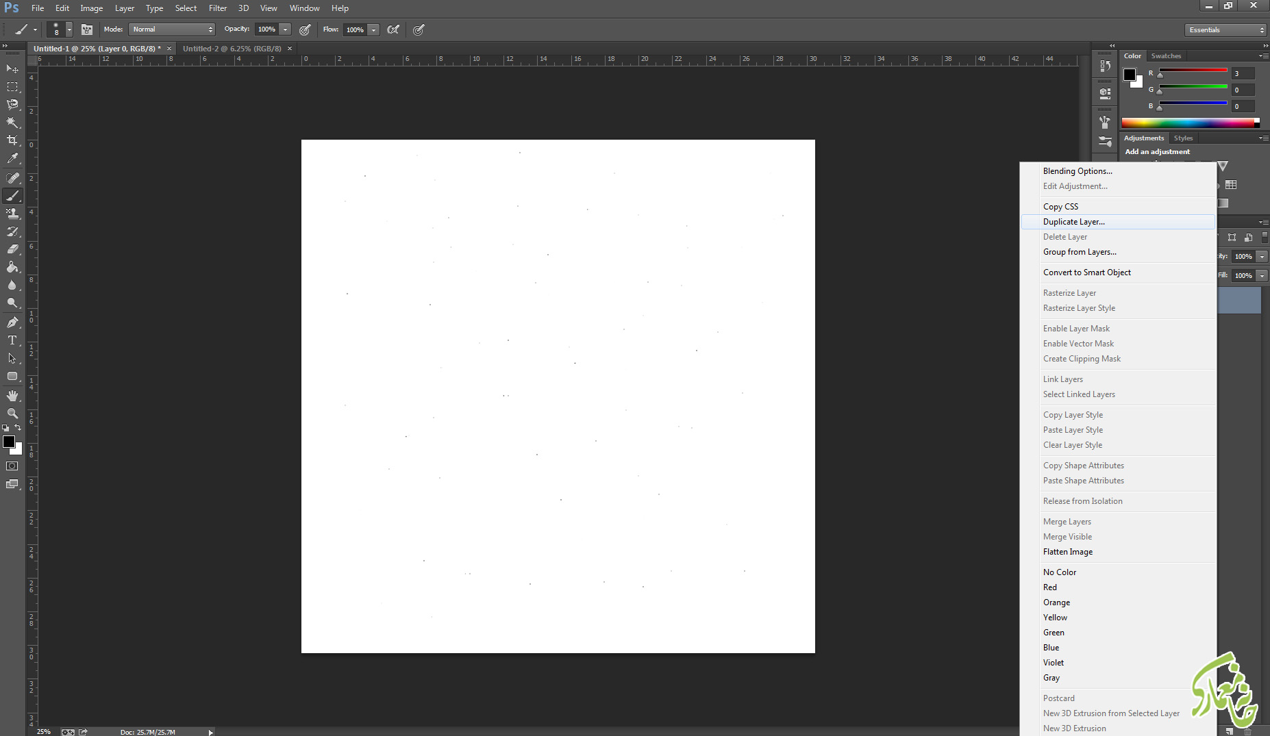 ایجاد سند بزرگتر در photoshop