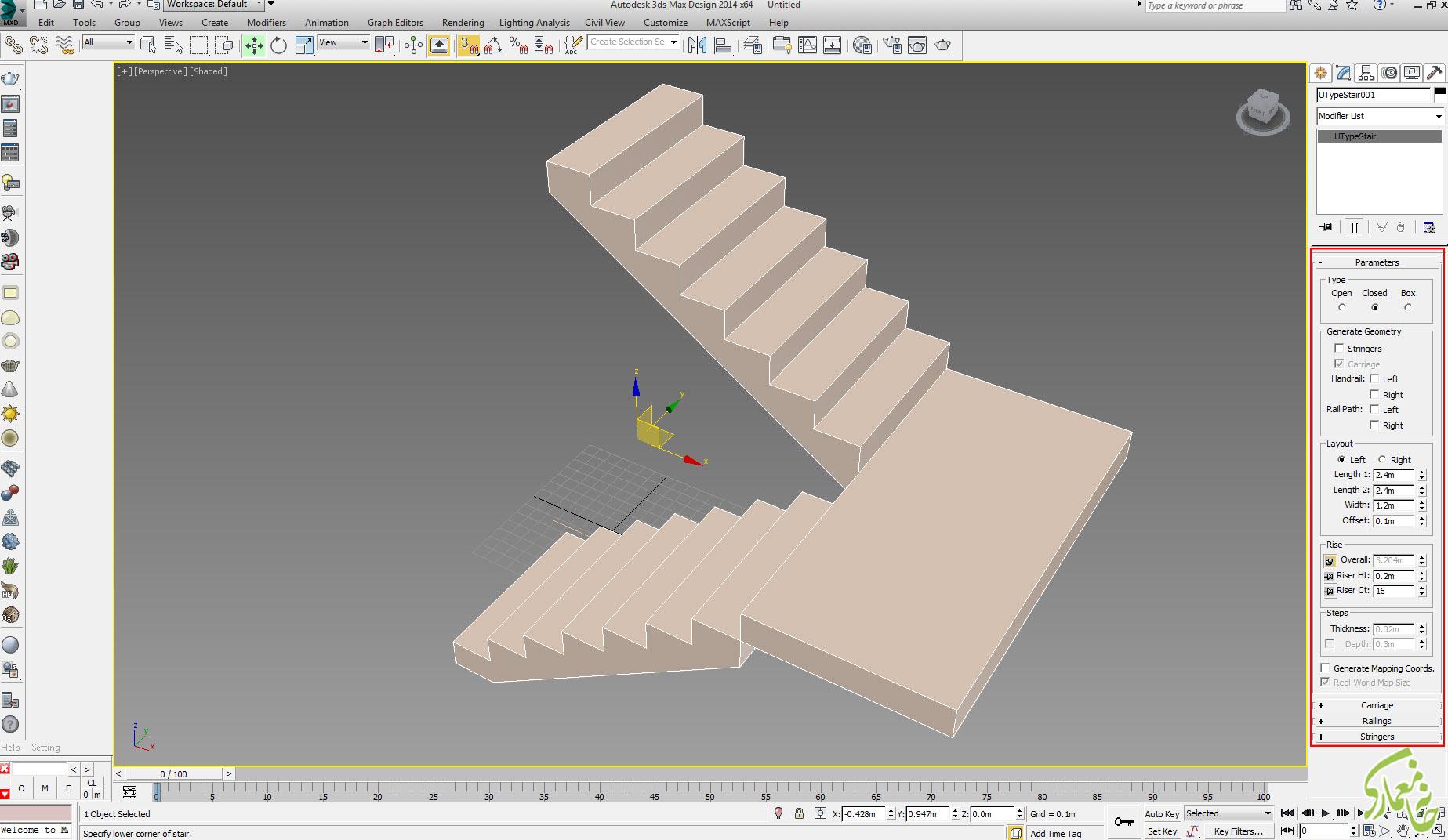تنظیمات ابعاد پله در 3dmax