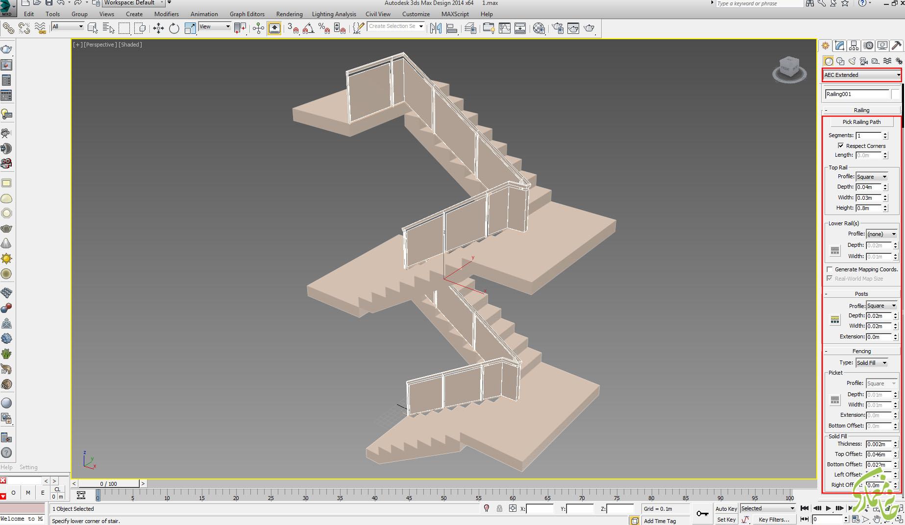 تنظیمات ابزار railing در 3dmax