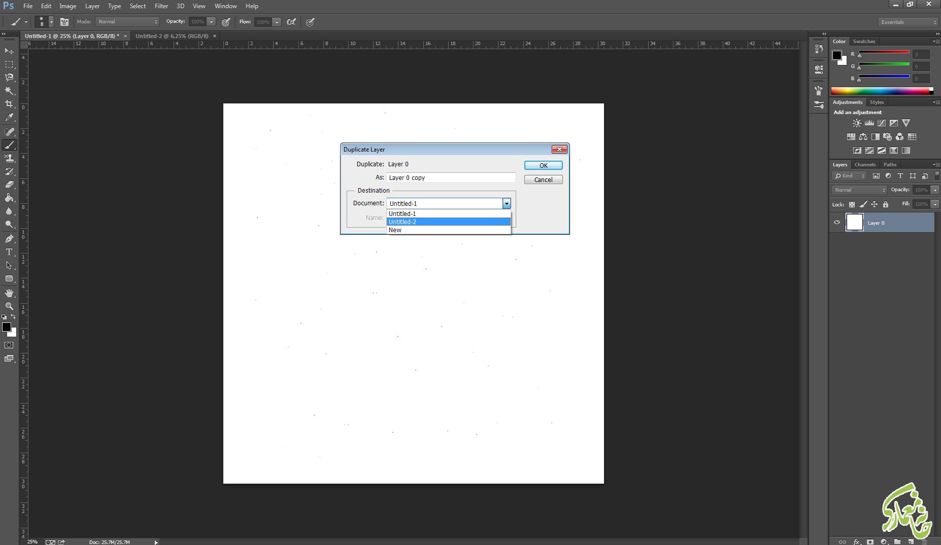 کپی کردن لایه به سند جدید در photoshop
