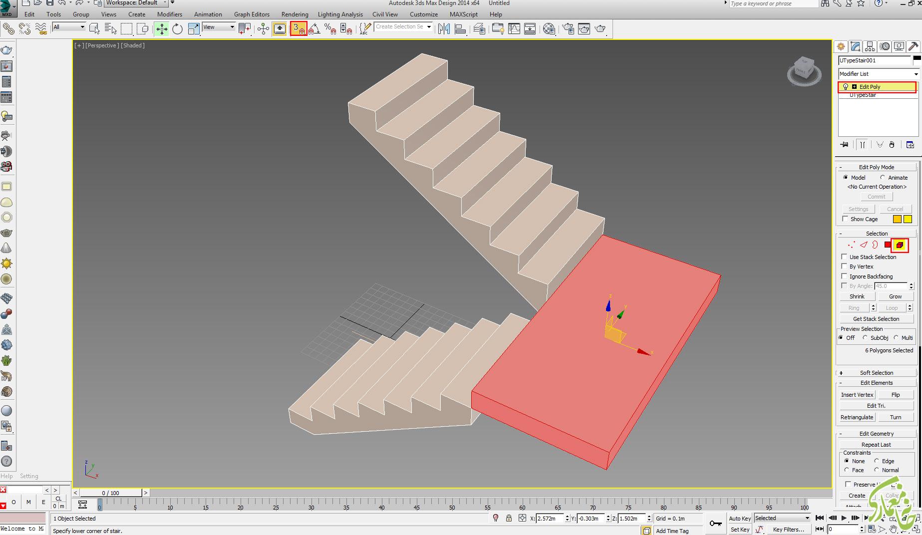 ویرایشگر edit poly به پله در 3dmax