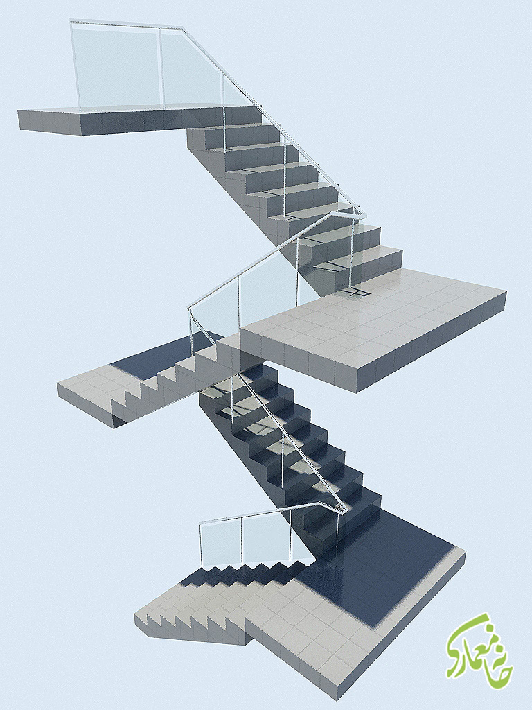 رندر نهایی پله با متریال در 3dmax