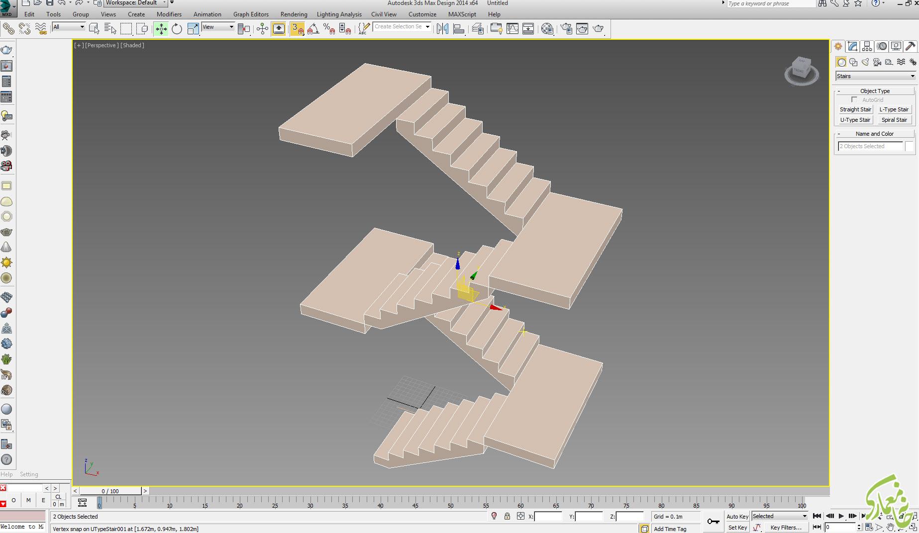 پله در 3dmax