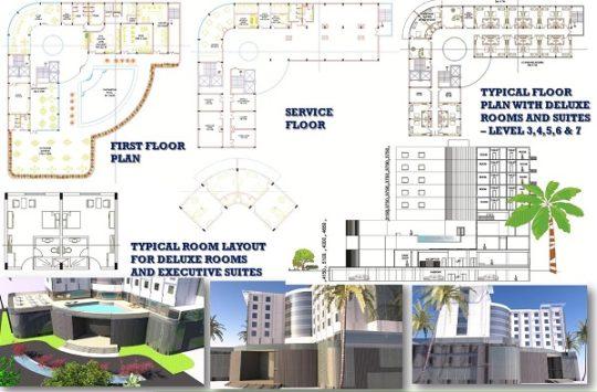 پروژه معماری و پلان هتل ۳ ستاره