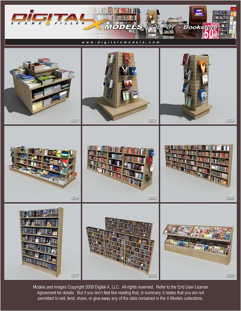 مدل سه بعدی کتاب، قفسه و فروشگاه کتاب